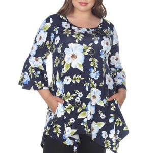 Plus Size 3/4 Sleeves Floral Tunic PS1308-85